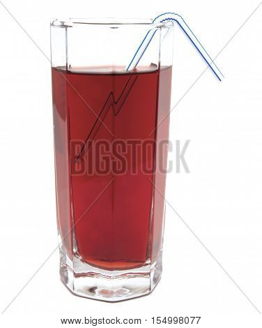 Glass of red apple juice with tubule isolated on white background