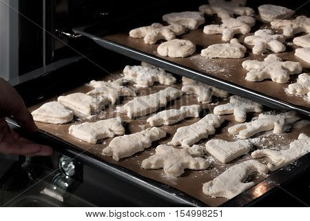 Handmade cookies ready for baking. On a baking sheet in the oven