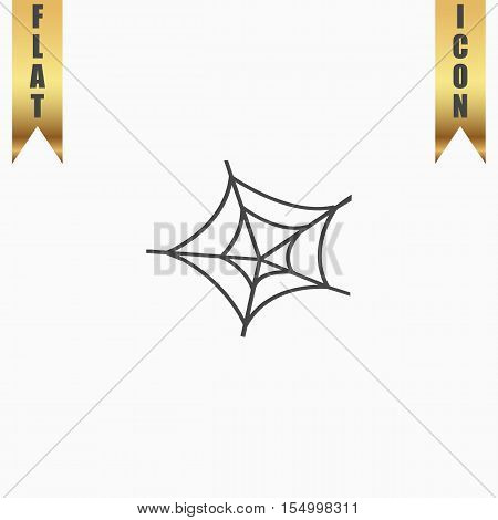 Spiderweb. Flat Icon. Vector illustration grey symbol on white background with gold ribbon