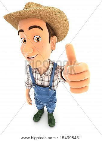 3d farmer positive pose with thumb up illustration with isolated white background