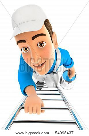 3d painter climbing up the ladder illustration with isolated white background