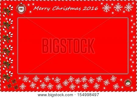 Illustrated christmas greeting. Red background. Space for text. 2016