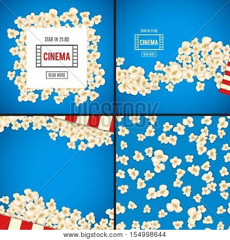 Popcorn for movie lies on blue background. Vector illustration for cinema design. Pop corn food pile isolated. Border and frame for film poster flyer.