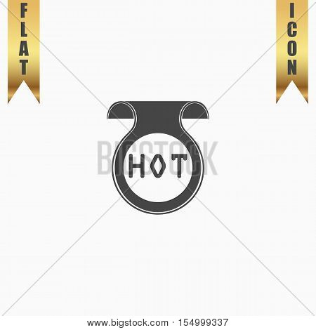 Bookmark with Hot message. Flat Icon. Vector illustration grey symbol on white background with gold ribbon