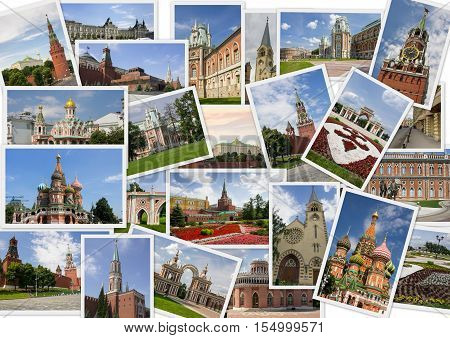 Landmarks of Moscow in collage with several shots