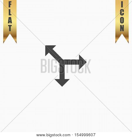 Three-way direction arrow. Flat Icon. Vector illustration grey symbol on white background with gold ribbon