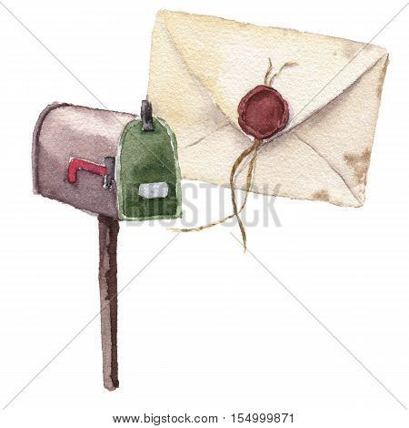 Watercolor retro envelope with sealing wax with postbox. Vintage mail icon isolated on white background. Hand painted design element