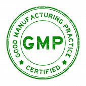 Grunge green GMP certified round rubber seal stamp on white background poster
