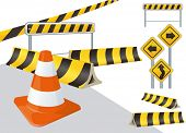 road construction vector signs poster