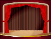 Red stage curtain. Vector. poster