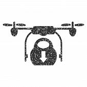 Drone Drop Cargo grainy textured icon for overlay watermark stamps. Flat symbol with unclean texture. Dotted glyph gray ink rubber seal stamp with grunge design on a white background. poster