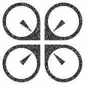 Hover Drone grainy textured icon for overlay watermark stamps. Flat symbol with scratched texture. Dotted glyph gray ink rubber seal stamp with grunge design on a white background. poster