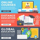 Online courses, distance education, global education flat illustration concepts set. Flat design graphic for web sites, web banners, printed materials, templates, infographics. Vector illustrations poster