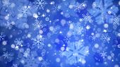 Christmas background with white blurred and clear snowflakes on blue background. Big fuzzy and clear small snowflakes. Christmas vector illustration of beautiful snowflakes poster