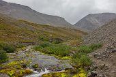 Mountain river in arctic tundra overcast landscape poster
