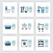 Illustration with tips on saving water consumption by man in a house to reduce financial costs and reduce the amount of accounts with water consumption. Outline icon and symbol saving water. poster