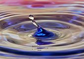 colorful water drop close to the bright surface of the water poster