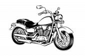 Vector illustration of hand-drawn vintage motorcycle. Classic chopper in ink style. Print, engraving poster