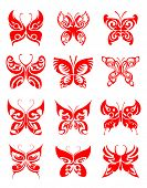 Jpeg version. Tattoos set of butterfly on white background for design. Vector version is also available poster