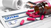 Stroke - Handwritten Diagnosis in the Differential Diagnoses. Medicine Concept with Heap of Pills, Close Up View, Selective Focus. Stroke Text in Anamnesis. Close Up View of Medical Concept. 3D. poster