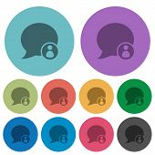 Blog comment sender flat icons on color round background. poster