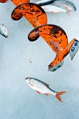Fishing auger on ice of the frozen lake. Winter leisure theme poster