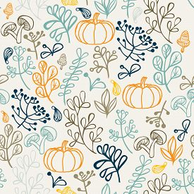 Autumn seamless pattern can be used for wallpaper, website background, wrapping paper. Autumn elements design of leaf and pumkin