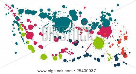 Paint Stains Grunge Background Vector. Funky Ink Splatter, Spray Blots, Dirty Spot Elements, Wall Gr