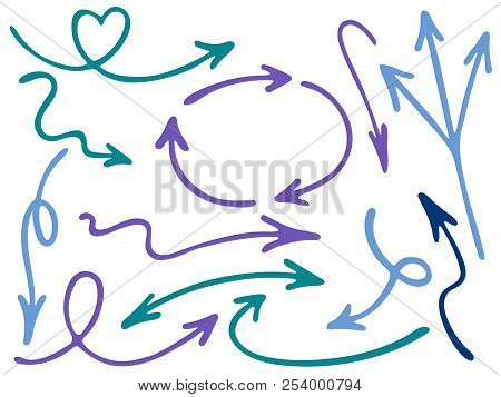Hand Drawn Diagram Arrow Icons Vector Set. Up Down Pencil Sketch Arrows, Right And Left Direction Po