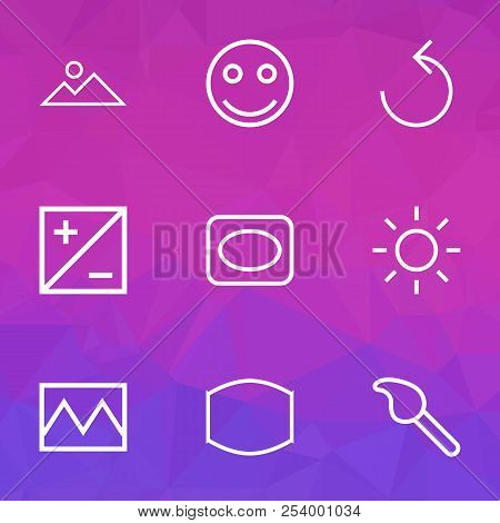 Photo Icons Line Style Set With Mode, Photo, Frame And Other Wide Angle Elements. Isolated  Illustra