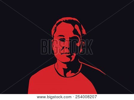 Aug, 2018: Famous Founder, Ceo And Entrepreneur Elon Musk Vector Portrait. Elon Musk Red Silhouette