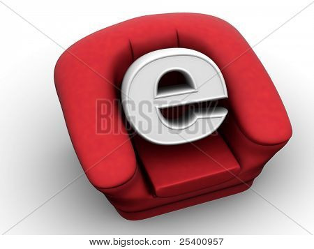 Armchair with symbol for internet. 3d