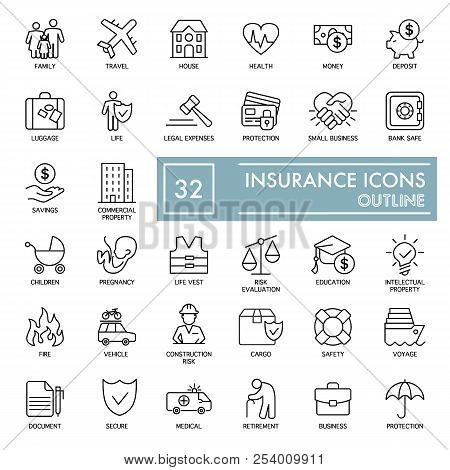 Set Of Insurance Vector Line Icons. Flat Thin Outline Icons Isolated On White. Eps 10
