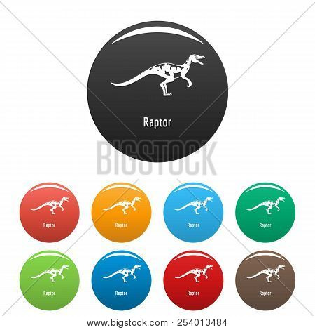 Raptor icon. Simple illustration of raptor icons set color isolated on white poster