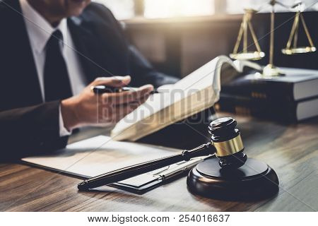 Judge Gavel With Justice Lawyers, Lawyer Or Judge Counselor Working With Agreement Contract In Court