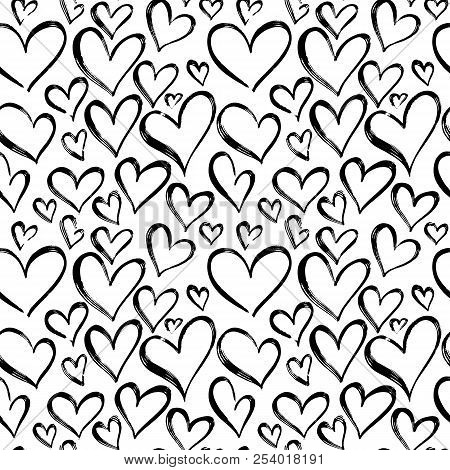 Pattern Of Hearts Hand Drawn Vector Sketch. Seamless Heart Art Background Hand Drawn By Marker Drawi