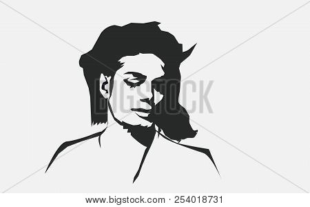 Aug, 2018: Michael Jackson Vector Isolated Portrait Stylized Illustration. Michael Jackson American