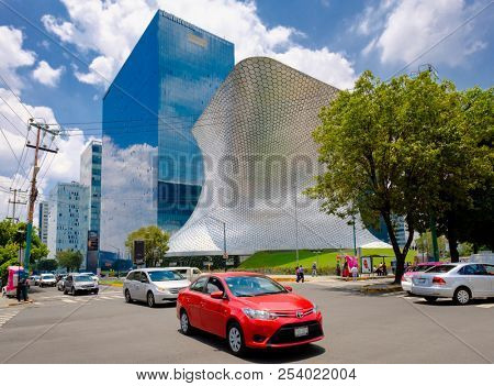 MEXICO CITY,MEXICO - JULY 16,2018 : The modern Soumaya museum of art in Mexico City
