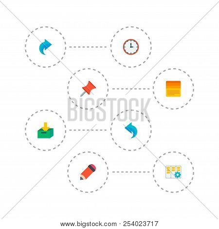 Set Of Task Manager Icons Flat Style Symbols With Pin, Undo, Task Manager And Other Icons For Your W