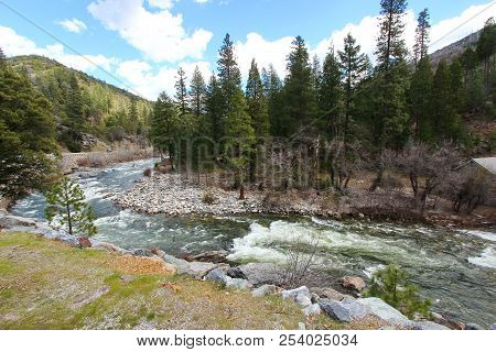 A River With Rapids In The Mountains In California Enroute Lake Tahoe.
