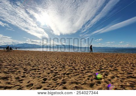 View Of  Lake Tahoe From The Beach.
