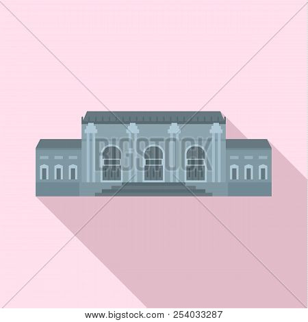 Grey Facade Historical Building Icon. Flat Illustration Of Grey Facade Historical Building Vector Ic