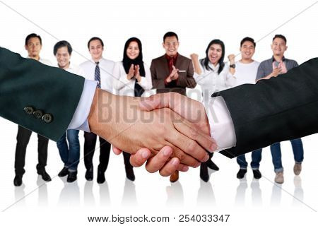 Close Up Image Of Businessmen Doing Handshake For Having Deal. Agreement Partnership In Business Con