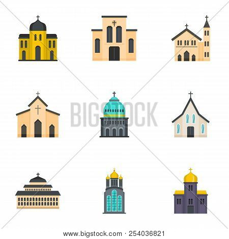 Place Of Worship Icons Set. Cartoon Set Of 9 Place Of Worship Vector Icons For Web Isolated On White