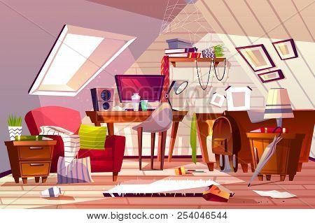 Messy Room Interior Vector Illustration. Cartoon Garret Or Attic Flat In Clutter. Girl Bedroom Or Li