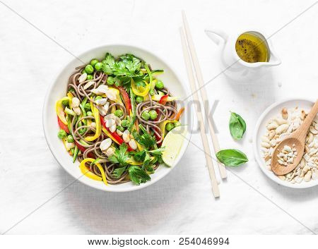 Pad Thai Vegetables Soba Noodles On Light Background, Top View. Healthy Vegetarian Food In Asian Sty