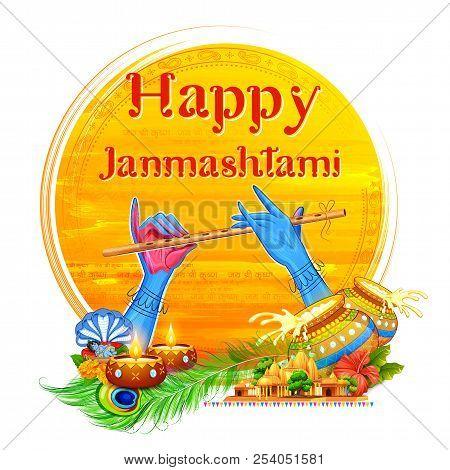 Lord Krishna playing bansuri flute in Happy Janmashtami festival background of India poster