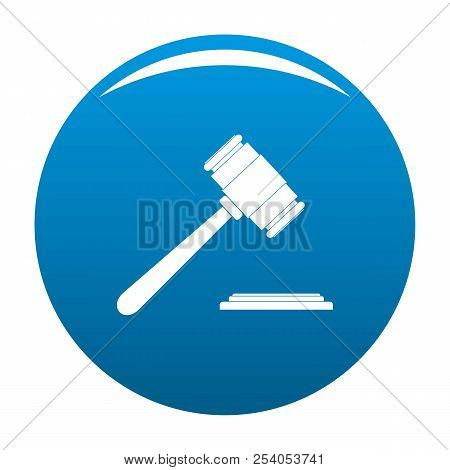 Auction Gavel Icon. Simple Illustration Of Auction Gavel Icon For Any Design Blue