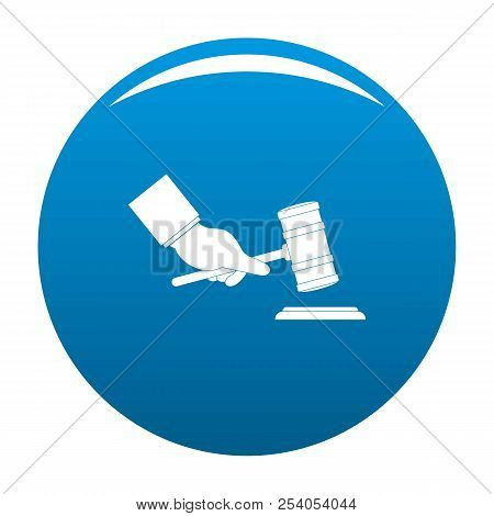 Gavel In Hand Icon. Simple Illustration Of Gavel In Hand Icon For Any Design Blue