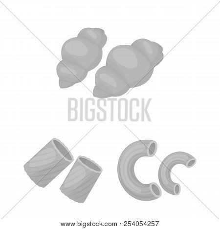 Types Of Pasta Monochrome Icons In Set Collection For Design. Figured Macaroni For Eating Vector Sym